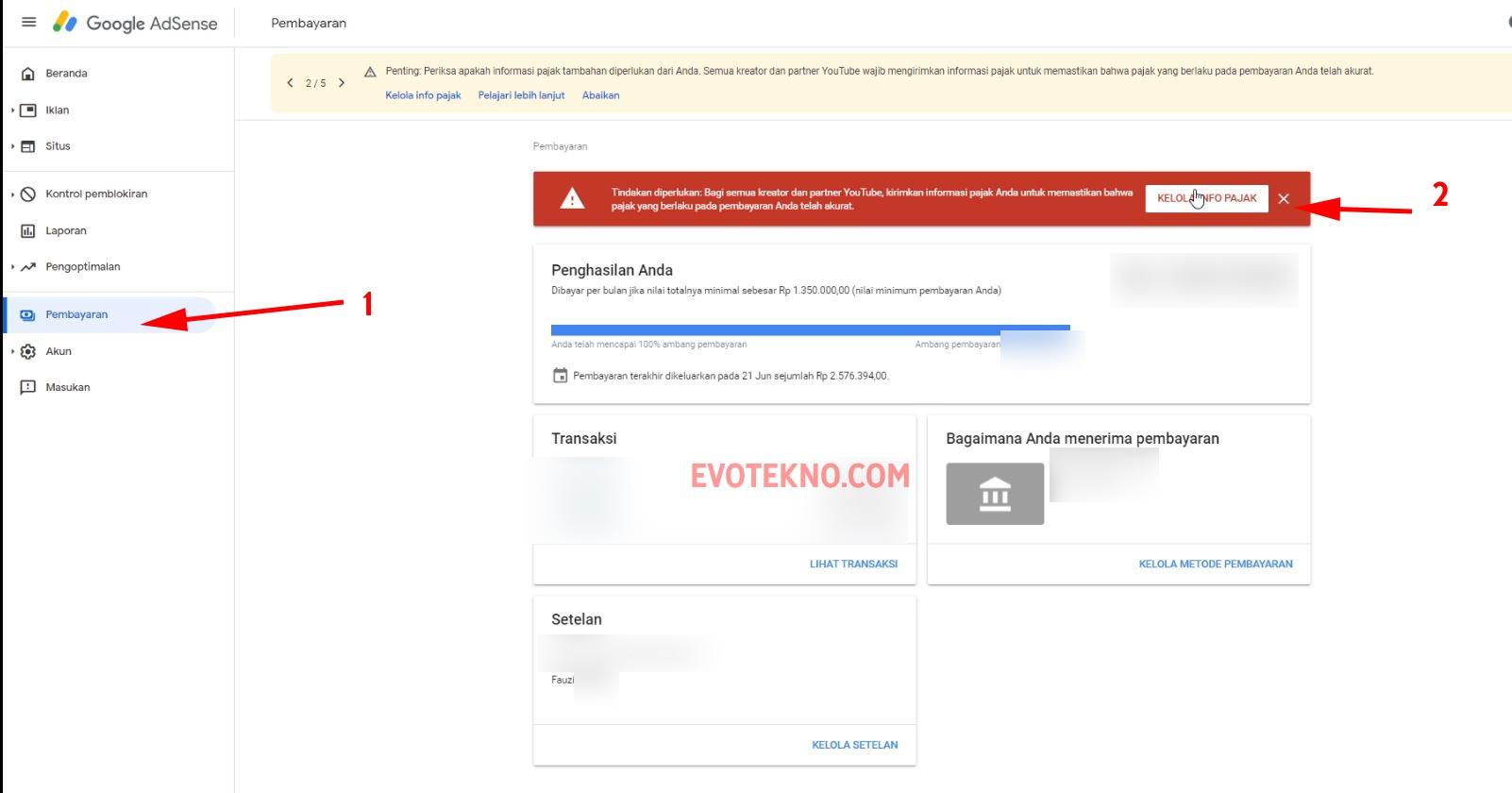 Google Adsense - Pembayaran - Kelola Info Pajak