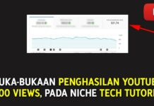 PENGHASILAN YOUTUBE 1000 VIEWS - NICHE TUTORIAL TEKNOLOGI