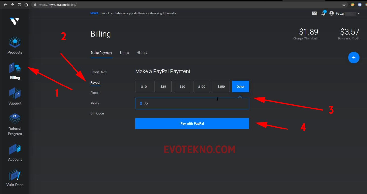 Vultr - Billing - PayPal