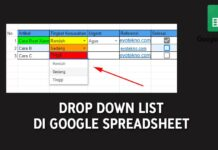 Drop Down List di Google Spreadsheet