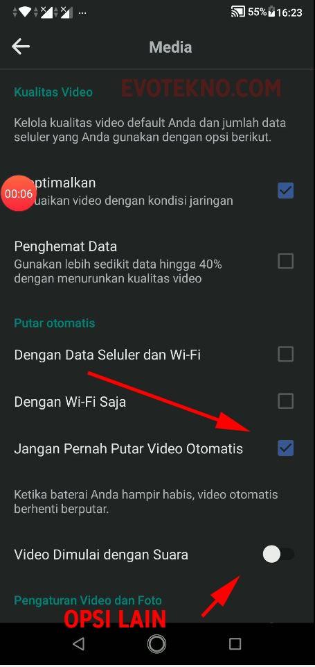 Facebook Android - Jangan pernah putar video otomatis