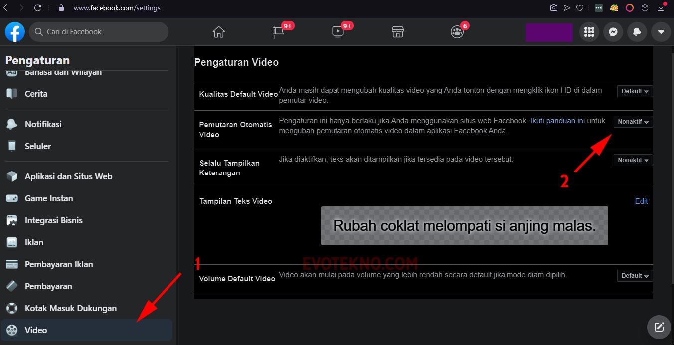 Facebook - Settings - Pengaturan - Video - Pemutaran Video Otomatis