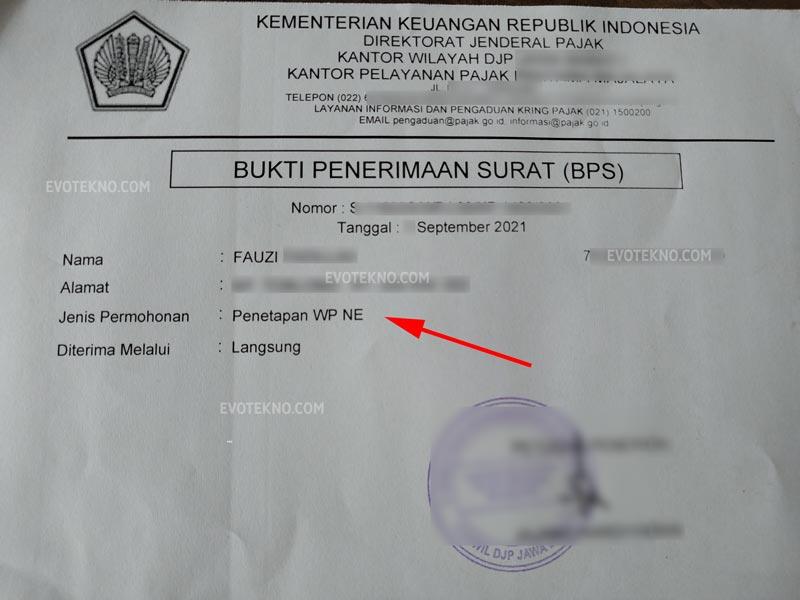 Bukti Penerimaan Surat (BPS) - Pajak
