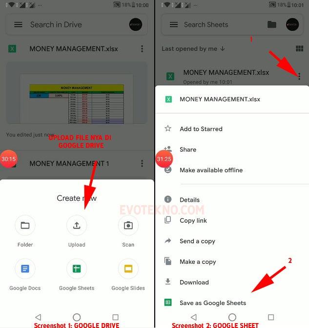 Google Drive - Google Sheets - Save As Google Sheet - File xlsx