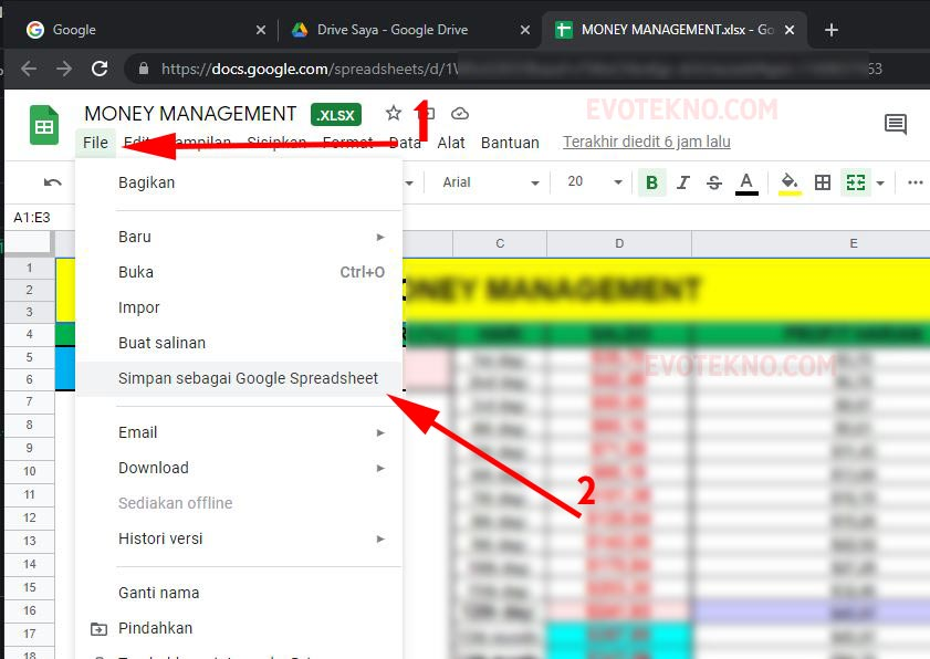 Google Spreadsheet - File - Save as Google Sheets - xlsx