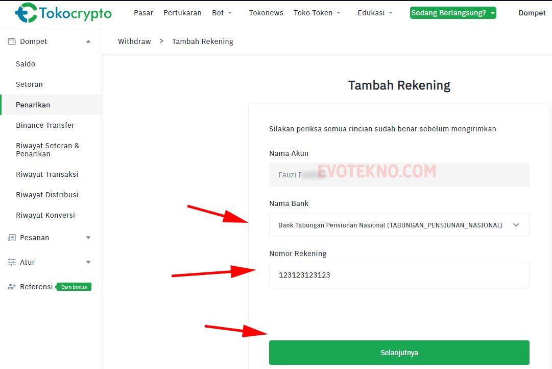Nama Bank - Nomor Rekening - Tambah Rekening Tokocrypto