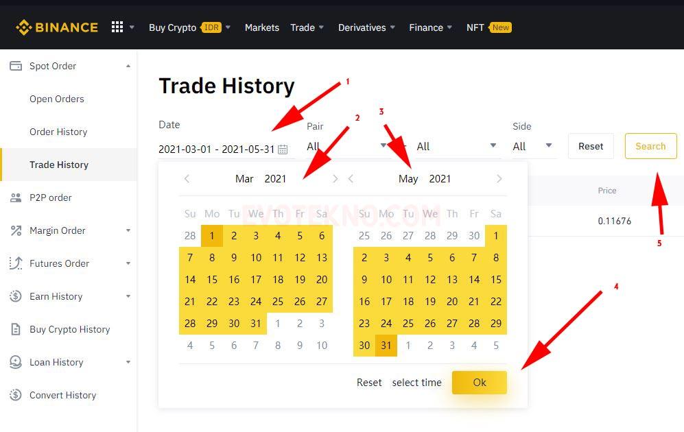 Tanggal riwayat pembelian aset kripto - Binance - History