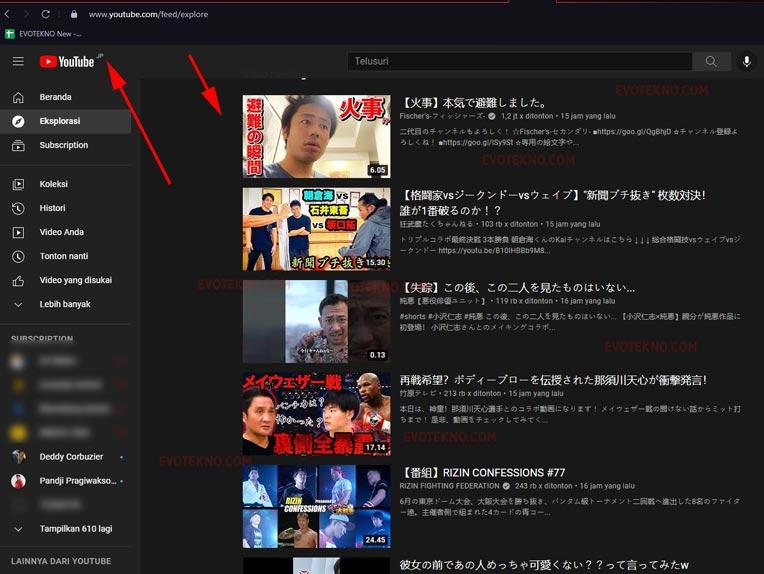 Trending YouTube di Region Jepang