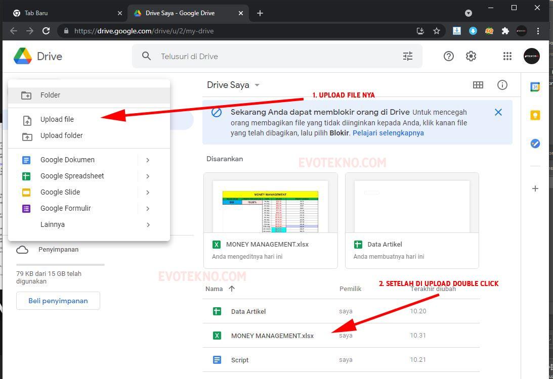 Upload File Excel xlsx ke Google Drive