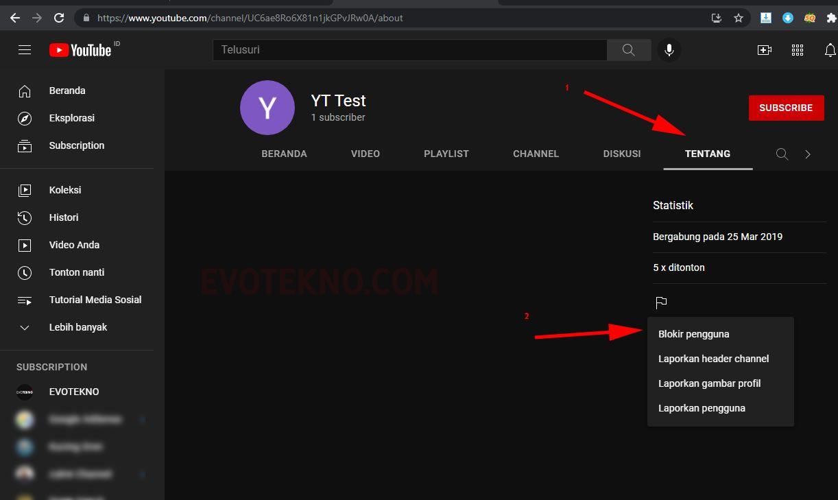 YouTube Profil - Tentang - Blokir Pengguna