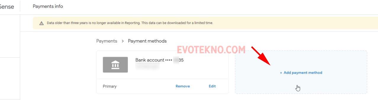Add payment method - Google AdSense