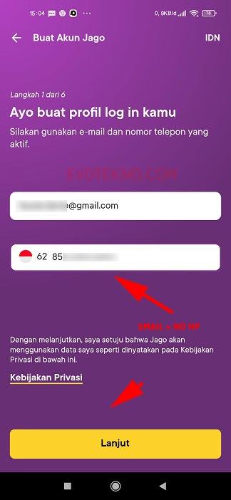 Buat Akun Bank Jago - Email dan Nomor Telepon