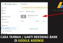 Cara Tambah atau Ganti Rekening Bank di Google AdSense