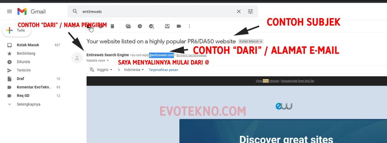 Contoh subjek dan alamat email - Gmail