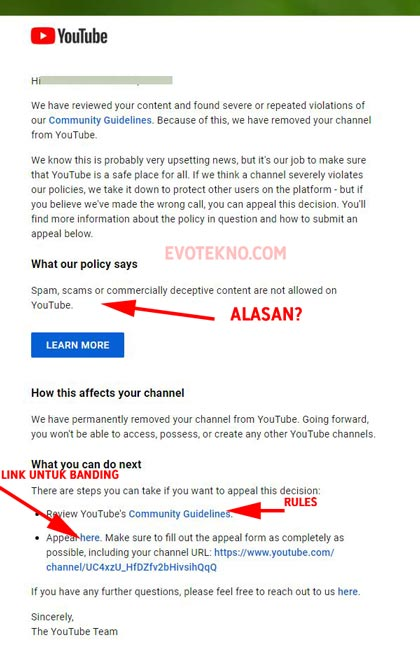 Email channel youtube di hapus