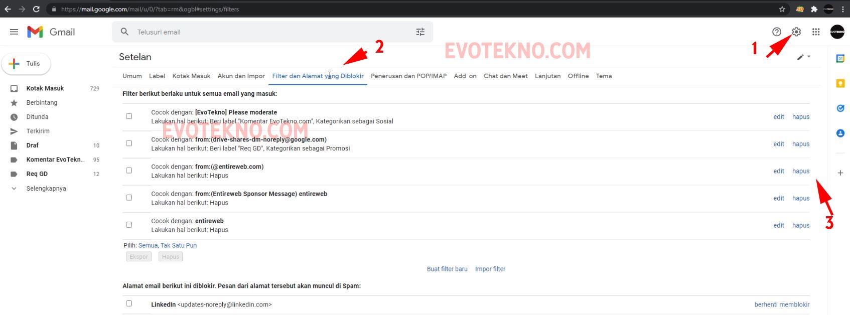 Hapus - Filter dan alamat yang diblokir - gmail