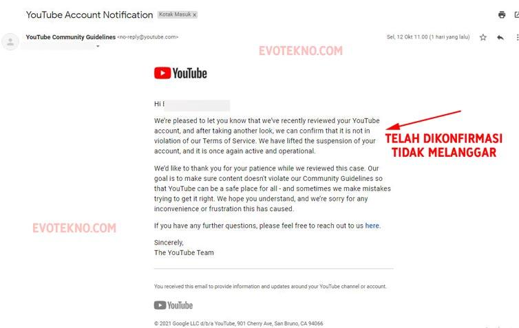 Hasil Peninjauan YouTube, Recovery Channel