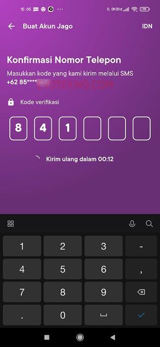 Kode Verifikasi SMS - Buat Akun Bank Jago