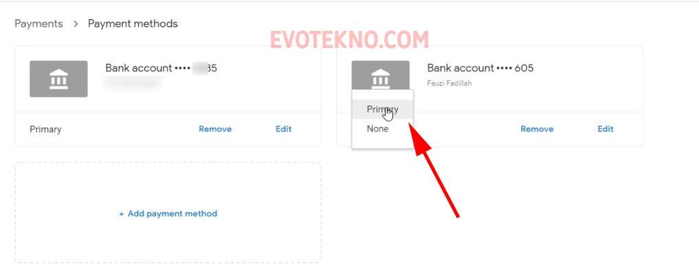 Primary - Payment Method - Google AdSense
