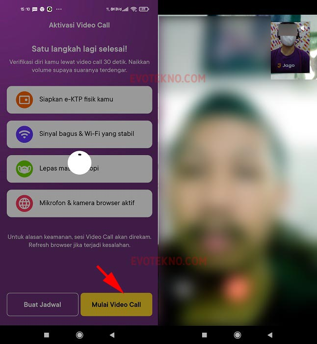 Video Call dengan petugas bank jago